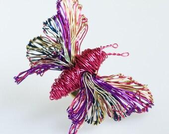 Pink Butterfly brooch pin Butterfly jewelry Insect jewelry Wire wrapped jewelry Art jewelry Fuchsia Cute gift for girlfriend Modern brooch