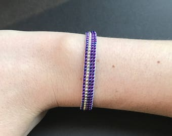 Purple and silver loom bracelet