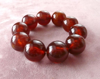 Marbled Lucite Bracelet Root Beer Beaded Stretch Retro