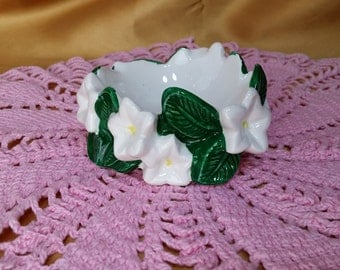Fitz and Floyd White Flowers Ring Trinket Dish Candle Holder *eb