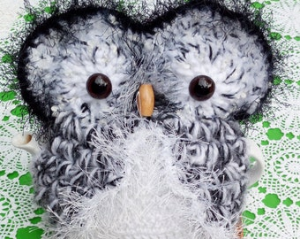Owl Teapot cozy Hand crocheted Tea Cozy 3 - 4 cups in Black & White wool, mohair, acrylic
