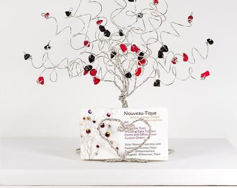 Queen of Hearts Wire Tree Business Card Holder Sculpture with Heart Shaped Roots in any Colors