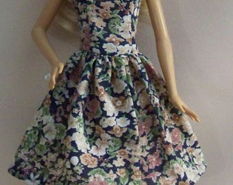 Handmade Barbie Clothes-Navy Floral with Beige and Rose Barbie Dress