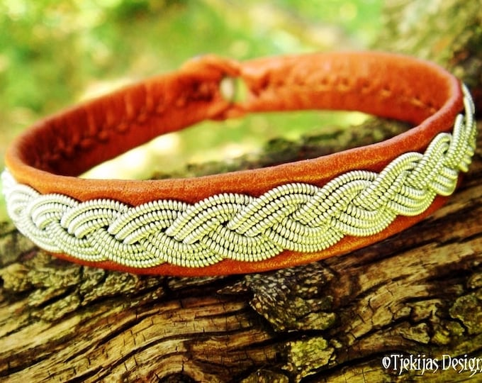 EDDA Viking Braid Sami Bracelet in bark tanned Reindeer Leather with Spun Pewter Wire and Antler Closure - Handmade to Your Wishes