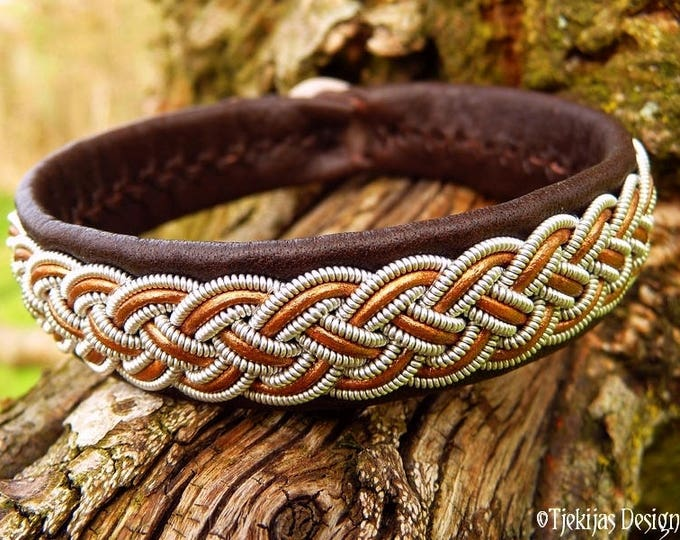 Unisex Custom Design Viking Bracelet | Sami Lapland Armband | FREKI Pewter and Bronze Brown Leather Cuff Bangle | Your Size and in 30 Colors