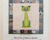 Stalker Cat Quilt Block Pattern, Block 6 Helene Knott, Garden Patch Cats, 18 inch Applique Quilt Block Pattern SQSP HK66