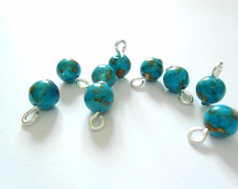 Blue/Orange Turquoise Dangle Beads