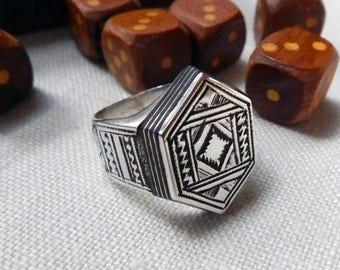 Vintage TUAREG Silver Ebony Wood Hexagon Ring; Traditional Geometric Tribal Symbols; Strong Classic Tribal Designs; Protection Evil Eye.