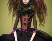 OOAK Handmade Fabric and Clay Circus Art Doll by Majestic Thorns