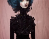 OOAK Handmade Fabric and Clay Art Doll Gothic Victorian  Blue