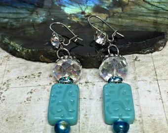 Mint Green Earrings - Green Jewelry, Mint Green Gifts, Teal Earrings, Womens Earrings, Earrings For Her, Swarovski Gifts, Rectangle Jewelry
