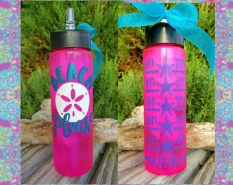 Beach Please Water Bottle/Motivational/24oz/Water Tracker/Water Reminder/Glitter/Straw/Flip Lid/Handle/Lots of Colors/Mothers Gift/To go cup