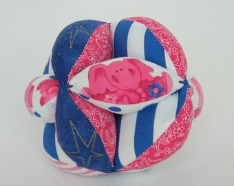 Pink and Blue Baby Ball - Baby Clutch Ball - Montessori Toy - Baby's First Ball - Baby Shower Gift - Easter Basket Gift - Pink Elephant Toy