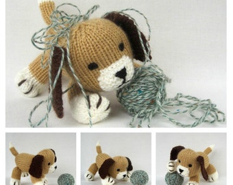 Muffin the puppy - toy dog knitting pattern - PDF INSTANT DOWNLOAD