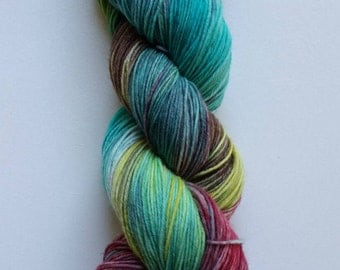 Feathers: hand dyed variegated Merino sock yarn by Star Fiber Studio