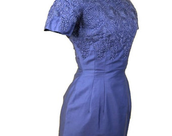 1960s Embroidered Wiggle Dress