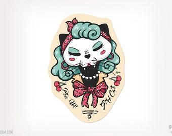 Pin Up Girl Cat Sticker Cat Pinup Cat Black Kitty Ganbatte Black Cats Sticker