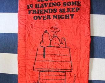 Vintage Snoopy and Woodstock Security Sleeping Bag 1970
