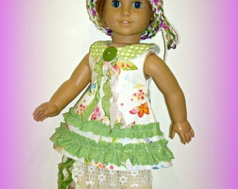"Mori Girl Style!  Handmade Doll Clothes, fits 18"" Soft Body Dolls such as American Girl, Dress, Underskirt, Hand Knit Hat by traveller240"