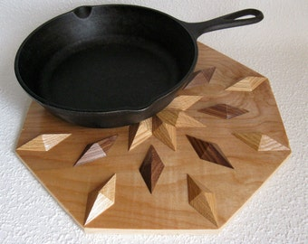 Wooden Kitchen Trivet. Woodwork centerpiece hot pan pad. Wood wall art