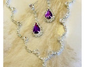 Wedding jewelry set ,bridesmaid jewelry set, Bridal necklace earrings, vintage inspired rhinestone jewelry set, purple crystal jewelry se