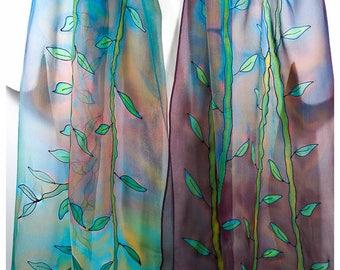 "Bamboo Silk Scarf ~ Vine silk scarf ~14""x68""~Painted silk scarves~Handmade silk scarf~Hand-painted silk scarves~Hand painted silk scarves"