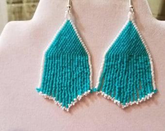 Native American Style Beaded Turquoise and White Earrings Southwestern, Brick Stitch, Boho, Peyote Gypsy, Modern, Nice Gift