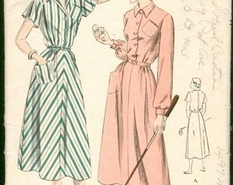 Lovely Vintage 1940s Vogue 6443 Shirtdress Sports Dress Shirtwaist Dress Sewing Pattern B32