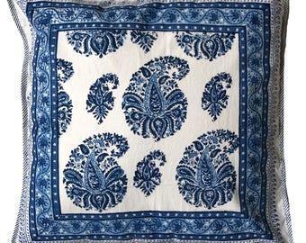 """Cotton Pillow cover - Paisley Blue -18"""" x 18"""""""