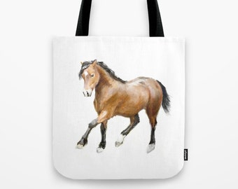 Horse Tote Bag, Book bag, Shopping bag, Casual tote, School bag, Animal lovers, Woodland, Barn Bag, Watercolor