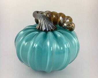 """4"""" Glass Pumpkin by Jonathan Winfisky - Opaque Sky Blue - Hand Blown Glass"""