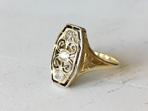 Old Mine Cut Diamond and Gold Engagement Ring - Three Stone Ring - Antique Diamond Cluster Ring
