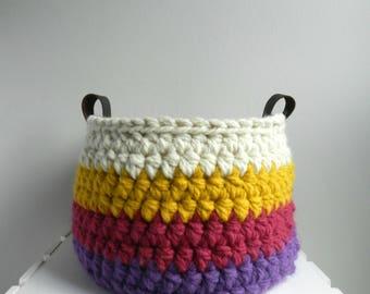 Lg Crochet Bowl / Basket / Storage / Multi Stripe