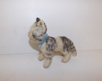 Vintage 1960s Steiff cat kitten mohair straw filled with blue ribbon bow and button in ear