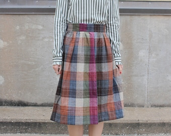 vintage plaid high waisted full midi skirt