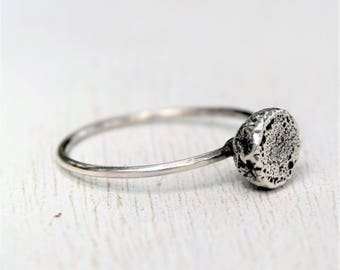 Size 5.75 - Silver Solitare Ring - Recycled Silver - Rustic Silver Ring - Modern Silver - Simple Jewelry - Oxidized - Gift For Her