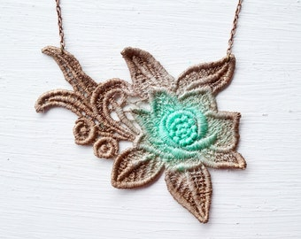 Lace Necklace in Mint and Brown Ombre