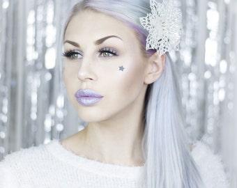 White Snowflake Hair Clip - Sparkle - Christmas