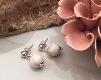 Howlite - Sterling Silver Earrings - 5543