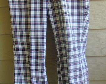 Vintage 60s/70s Mens 36x30 Disco Plaid Cotton Golf Pants by Di Fini