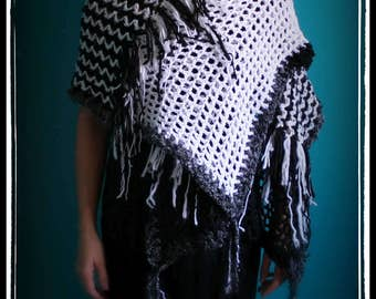 Crochet Shawl,Knit Shawl,Wrap Top,Stole,Cape Coat,Cape,Scarf,Capelet,Gypsy Clothing,Bohemian Clothing,Hippie Clothes,Unique Gift,Black,White