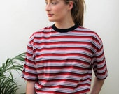 Red, White and Navy Crew Neck Striped T-Shirt Size UK 14, US 10, EU 42