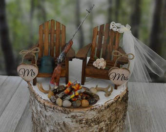 Deer hunter wedding cake topper hunting themed bride groom antlers deer rack topper shotgun rifle campfire camping fire pit buck doe decor