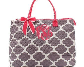 Monogram Quilted Tote Bag -Large Personalized Moroccan Print Quilted Tote- Quilted Overnight Tote - Diaper Bag