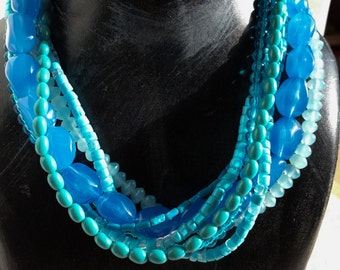 Vintage Multi Strand Blue Beaded Necklace