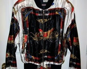 Vintage 80s Baroque Carriage Print Satin Jacket Medium Dynamite Enterprises Only 12 USD