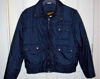 Vintage Mens Navy Ski Coat Jacket w/ Zip Off Sleeves by Continental XL Only 20 USD