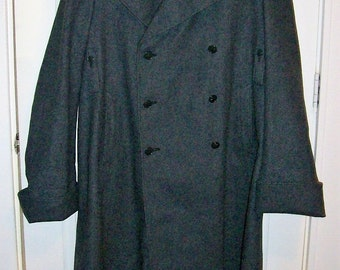 Vintage Men's Gray Wool Swiss Army Trench Coat 48BB Only 70 USD