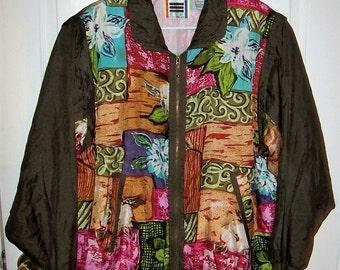 Vintage 80s Brown Printed Silk Windbreaker Bomber Jacket Large by EVR Only 14 USD