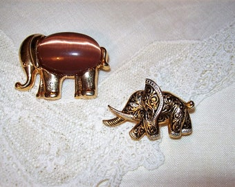 Vintage Silver Gold Damascene & Gold w/ Pink Moonstone Elephant Brooch Pins Both for 9 USD
